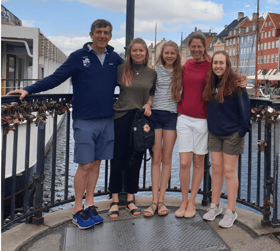 Tom and Silke with daughters Jenna, Maja and Lilli